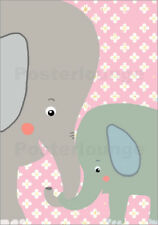 Poster, stampa su tela o vetro acrilico Together elephan... - Little Miss Arty