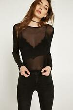 BANG ON THE TREND STUNNING SEXY BLACK SHEER LONG SLEEVE TOP SIZE 8-22