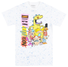 NICKELODEON CARTOON CHARACTERS T-SHIRT WHITE SPECKLE TV SHOW TEE MENS