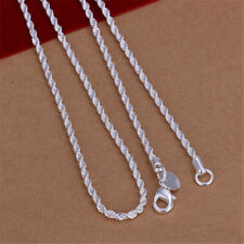 Women Fashion Solid Silver Snake Bead Wave Chains Pendant Necklace 16-24""