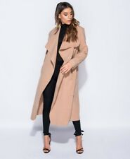 BANG ON THE TREND LUXURIOUS CAMEL EXTRA WIDE LAPEL TRENCH COAT SIZE SIZE 8-14
