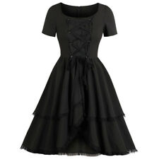 Womens Vintage Pinup 50s Swing Dress Evening Party Rockabilly Retro Gothic Dress