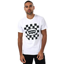 Mens Levis Graphic T-Shirt In White- Short Sleeve- Ribbed Collar- Crew