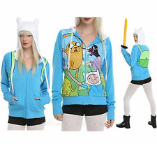 Adventure Time with Jake and Finn Costume Hoodie Ears Cosplay REVERSIBLE S NEW