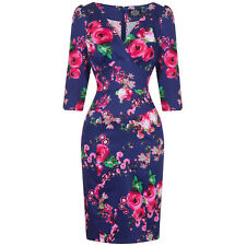 Hearts & Roses London Navy Pink Rose Floral Fitted 1950s Pencil Wiggle Dress