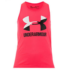 Junior Girls Under Armour Big Logo Slash Tank Top In Pink- Fitted Fit- Material