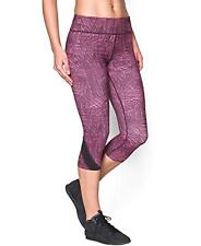 "Under Armour Womens Take-A-Chance 20"" Printed Purple Capri Running Leggings XS"