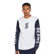 Champion x Beams - Long Sleeve Crewneck T-Shirt Oxford Grey Melange / New Navy