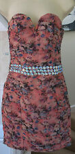 NEW RARE OPULENCE PEACH FLORAL JEWELLED DRESS Size 8