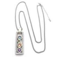 DESIGNER INSPIRED, SILVER BOX PENDANT NECKLACE WITH 4 COLORED CRYSTAL STONES,...