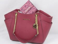 NWT MICHAEL KORS LEATHER JET SET TRAVEL CHAIN SHOULDER BAG OR WALLET IN MULBERRY