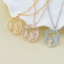 World Map Pendant Necklace Round Hollow Collar Womens Fashion Jewellery Gifts