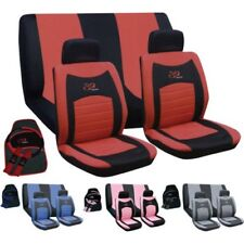 15PC UNIVERSAL FULL CAR SEAT COVER SET RS STYLE WASHABLE RED BLUE PINK GIFT SET