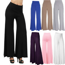 Womens Flared High Waisted Wide Leg Flared Full Length Palazzo Trousers OL Pants