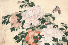 Póster, lienzo o cuadro en metacrilato Peonies and a butterfly - K. Hokusai