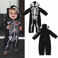 Newborn Baby Boy Girl Romper Skull Hooded Jumpsuit Bodysuit Clothes Outfit 0-24M