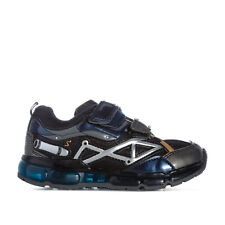 Children Boys Geox Android Trainers In Navy Silver- Hook And Loop Fastening-