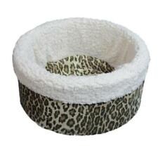 """Pets 4 All Pet Cat Dog Nest Circular Bed - Animal Print  Small 15"""" - Made in USA"""