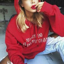 Fashion Women Hoodie Sweatshirts Letter Print Loose Crop Coat Pullover Long Tops