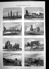 Old Print Ruins Chicago After Fire College Hotel Opera House 1871 Railway 19th