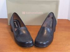 """Naturalizer Symbolize Black or Coffee Bean Leather Shoe 1 1/2"""" Heel"""