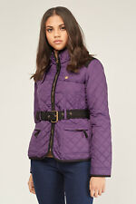 Womens Jess Country Wear Diamond Quilted Belted Jacket Coat