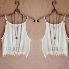 Crop Top Women Summer Tops High Quality Lace Tops Sling Vest Tee Cropped Femme