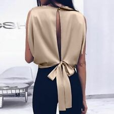 Fashion Tops Femme Backless Bow Bandage Sleeveless Casual Tanks Women Summer Top
