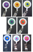 SMILEY HAPPY FACE FLOWER Retractable Badge Reel ID Holder Security Card Key Ring