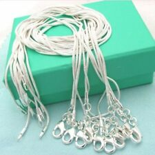 10PCS Wholesale Silver Solid Fashion 1MM Snake Chain Necklace For Pendant Gift