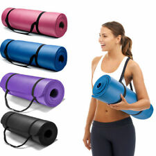 15mm Thick Non-slip Yoga Mat Pad Exercise Fitness Pilates w/ Strap 24''x10''