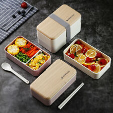 TUUTH Microwave Double Layer Lunch Box 1200ml Wooden Salad Bento Box BPA Free