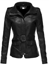 New Womens Belted Black BIKER Blazer Leather Coat Outerwear Jacket For Ladies