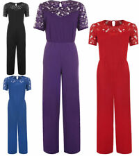 Womens Round Neck Lace Crochet Jumpsuit Ladies Short Sleeves Wide Leg jumpsuit