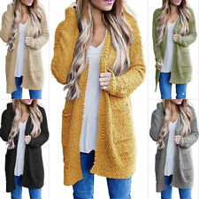 Ladies Long Sleeve Knitted Sweater Open Front Cardigan Outwear Long Knit Coats