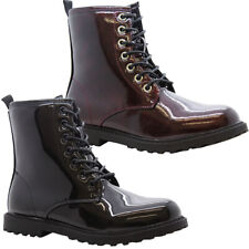 Girls Chunky Platform Ankle Boots Kid Lace Up Zip Goth Punk Doc Shiny Shoes Size