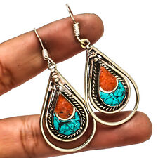 """Tibetan Turquoise Red Coral Nepalese 925 Silver Overlay Earring Jewelry Sz 2.18"""""""
