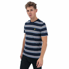 Mens Lyle And Scott Multi Stripe T-Shirt In Navy- Crew Neck