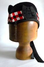 KILT GLENGARRY HAT WITH BLACK, RED & WHITE DICED BAND ALL SIZES FOR KILTWEAR NEW