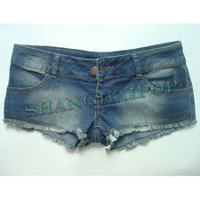 Distressed Frayed Denim Hot Pants Booty Low Rise Shorts Micro Mini Sexy Clubwear
