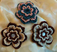 Crochet Flower Corsage Brooch Pin  Quality Cotton - CHOICE OF COLOURS - Handmade