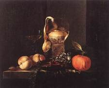 Photo Print Still-Life with Silver Bowl, Glasses, and Fruit Kalf, Willem - in va