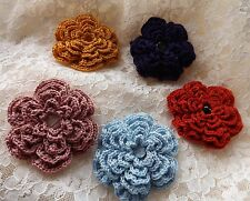 Crochet Flower Corsage Frilly Brooch Quality Cotton CHOICE OF COLOURS - Handmade