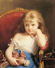 Art Print - Fritz Young Girl Holding A Doll - Zuber Buhler 1822 1896