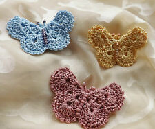 Crochet Butterfly Corsage Brooch Pin Quality Cotton - 3 COLOUR CHOICE - Handmade