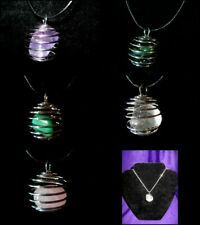 JLW62 Necklace/Pendant/Key Ring Semi Precious Spiral Cage 25mm Large Various
