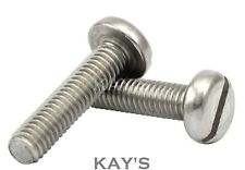 M6 (6mmØ) SLOTTED PAN HEAD MACHINE SCREWS A2 STAINLESS STEEL SLOT BOLTS METRIC