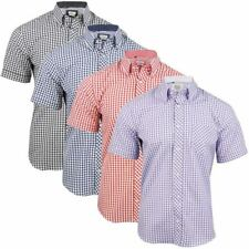 Mens Short Sleeve Gingham Check Shirt Button Down Collar Slim Fit By Xact