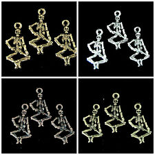 10 x Tibetan Silver Dancing Skeleton Charms Beading Jewellery ** PICK COLOUR **