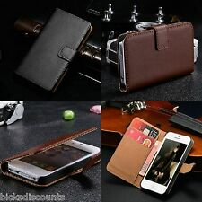 Genuine Real Leather Iphone 4 4s Case Flip wallet Card holder + Screen protector